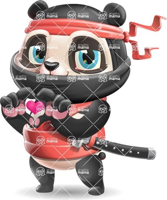 Ninja Panda Vector Cartoon Character - Showing Love
