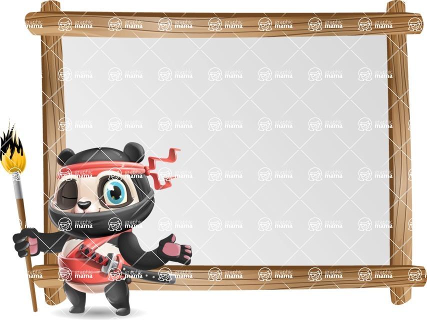 Ninja Panda Vector Cartoon Character - Showing on Big whiteboard