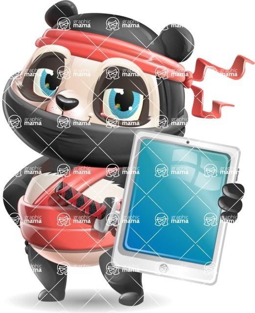 Ninja Panda Vector Cartoon Character - Showing tablet