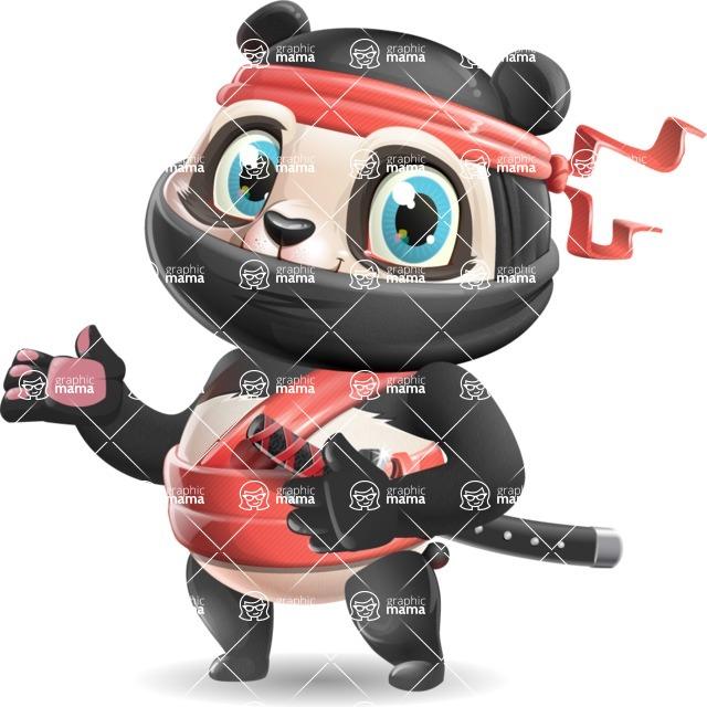 Ninja Panda Vector Cartoon Character - Showing with both hands