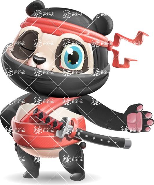 Ninja Panda Vector Cartoon Character - Showing with left hand