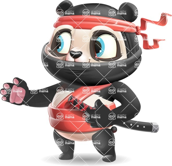 Ninja Panda Vector Cartoon Character - Showing with right hand