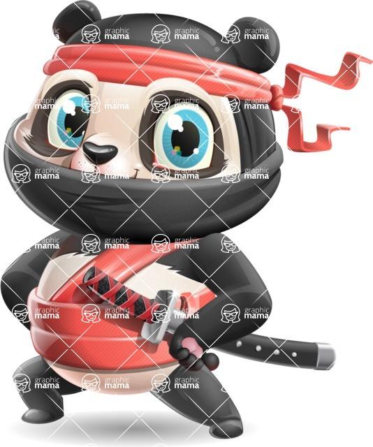 Ninja Panda Vector Cartoon Character - Smiling