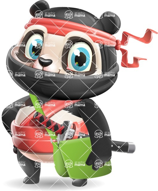 Ninja Panda Vector Cartoon Character - Traveling