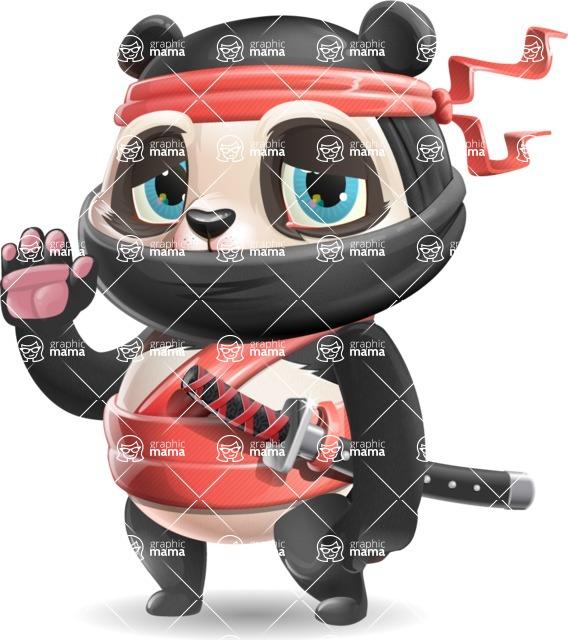 Ninja Panda Vector Cartoon Character - Waving for Goodbye with a hand