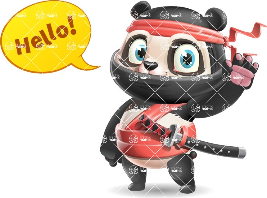 Ninja Panda Vector Cartoon Character - Waving for Hello with a hand