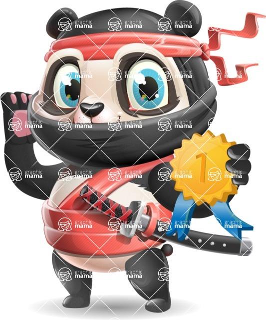 Ninja Panda Vector Cartoon Character - Winning prize