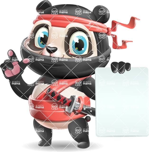 Ninja Panda Vector Cartoon Character - with a Blank paper