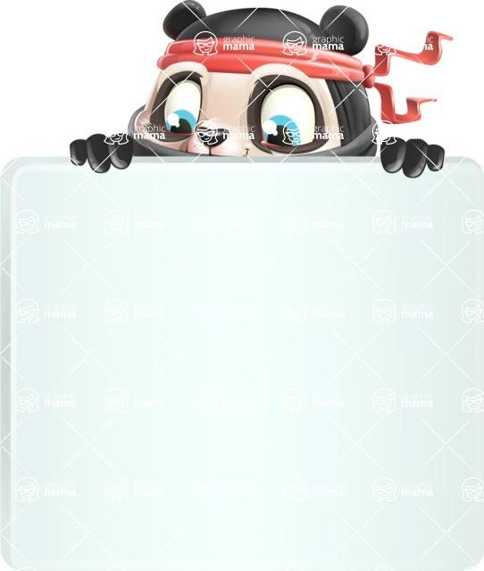 Ninja Panda Vector Cartoon Character - with a Blank Presentation sign