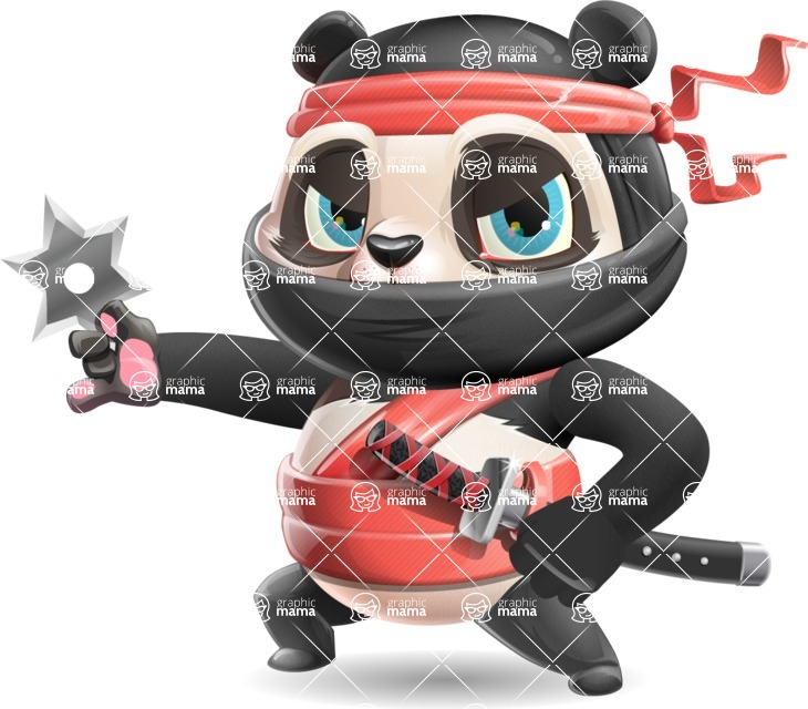 Ninja Panda Vector Cartoon Character - with Angry face