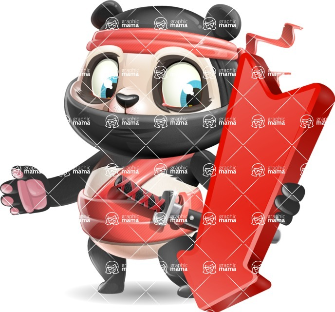 Ninja Panda Vector Cartoon Character - with Arrow going Down