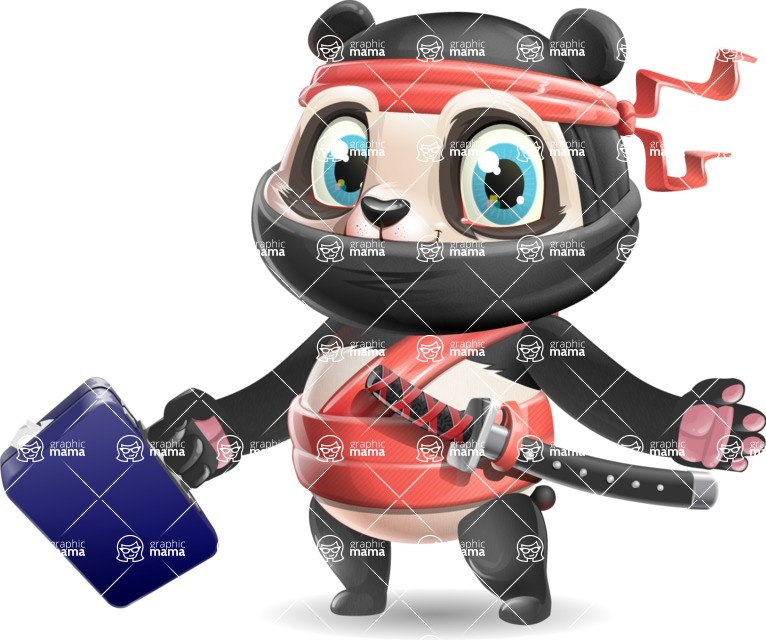 Ninja Panda Vector Cartoon Character - with Briefcase