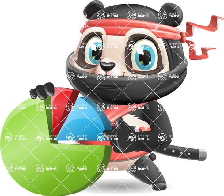 Ninja Panda Vector Cartoon Character - with Business graph