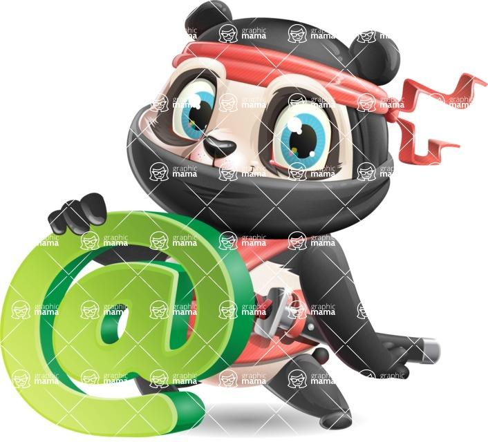 Ninja Panda Vector Cartoon Character - with Email sign