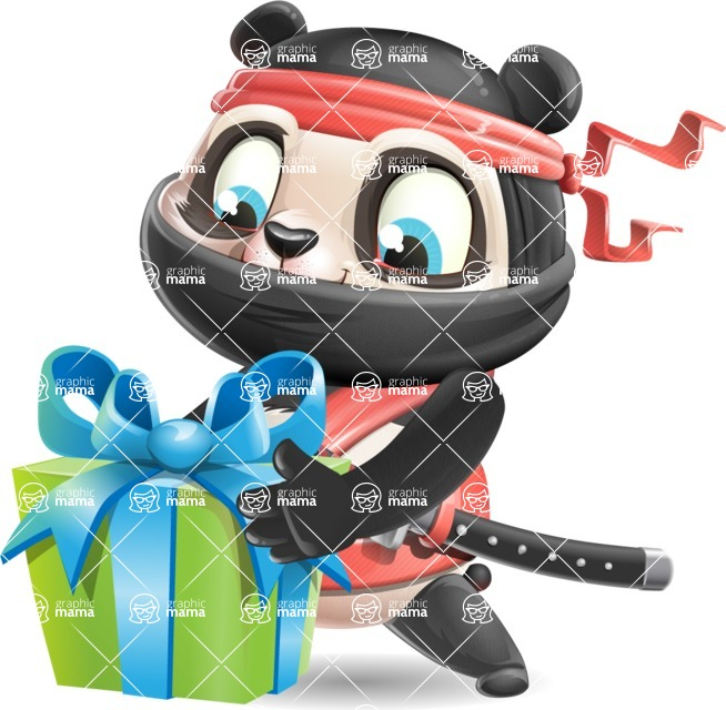 Ninja Panda Vector Cartoon Character - with Gift box
