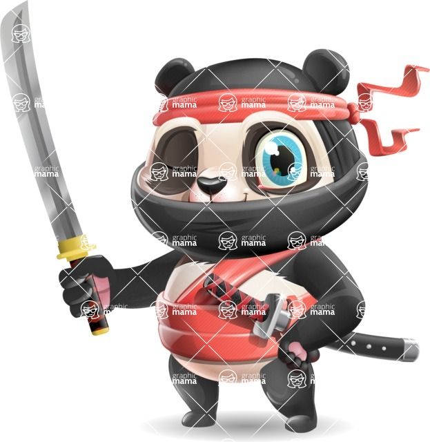 Ninja Panda Vector Cartoon Character - with Katana