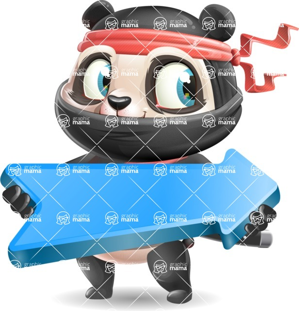 Ninja Panda Vector Cartoon Character - with Positive arrow