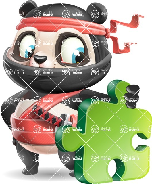 Ninja Panda Vector Cartoon Character - with Puzzle