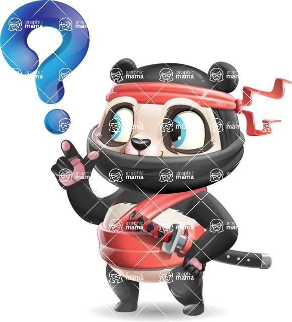 Ninja Panda Vector Cartoon Character - with Question mark