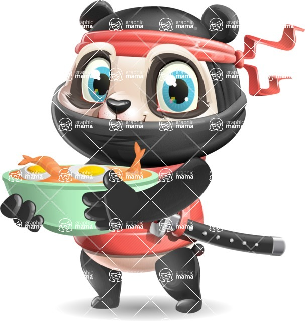 Ninja Panda Vector Cartoon Character - with Ramen
