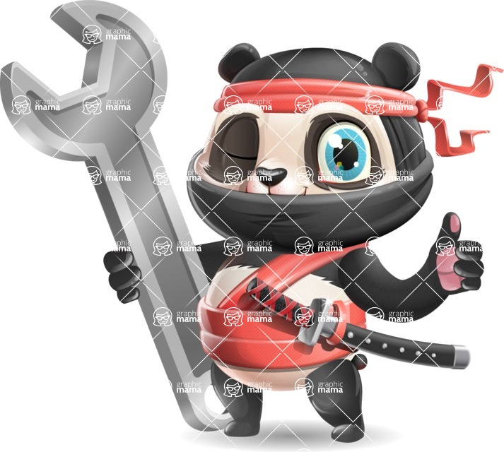 Ninja Panda Vector Cartoon Character - with Repairing tool wrench