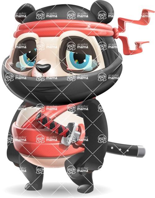 Ninja Panda Vector Cartoon Character - with Sad face