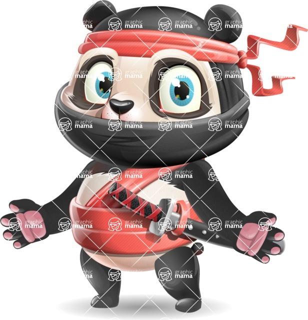 Ninja Panda Vector Cartoon Character - with Stunned face