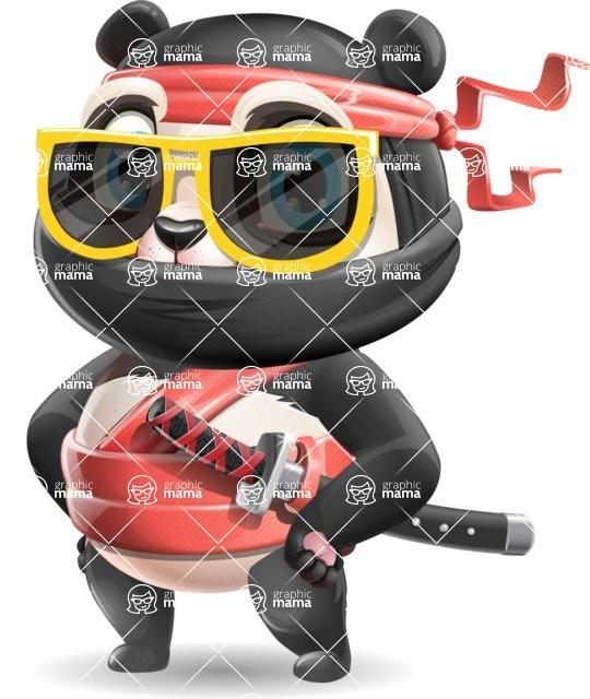 Ninja Panda Vector Cartoon Character - with Sunglasses