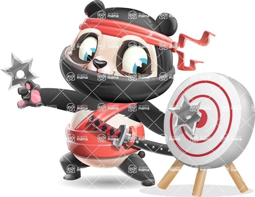 Ninja Panda Vector Cartoon Character - with Target