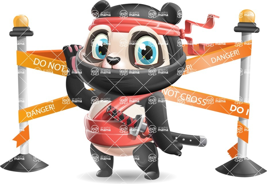 Ninja Panda Vector Cartoon Character - with Under Construction sign