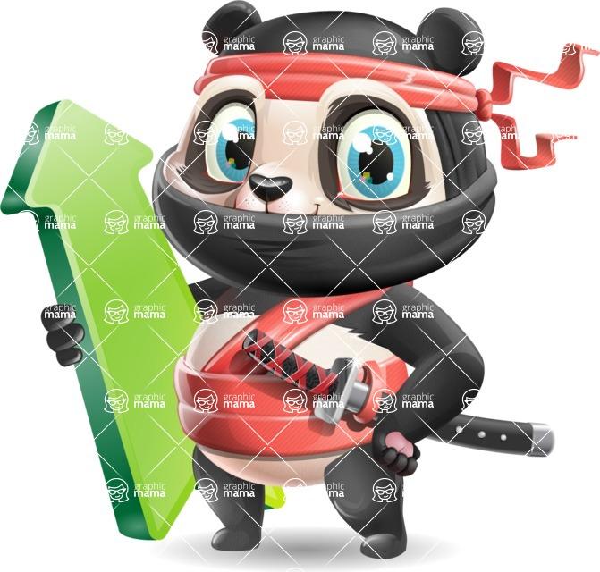 Ninja Panda Vector Cartoon Character - with Up arrow