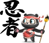 Ninja Panda Vector Cartoon Character - Calligraphy with Brush