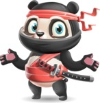 Ninja Panda Vector Cartoon Character - Feeling Confused