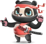 Ninja Panda Vector Cartoon Character - Finger pointing with angry face