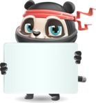 Ninja Panda Vector Cartoon Character - Holding a Big Blank banner