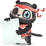 Ninja Panda Vector Cartoon Character - Holding a Blank banner