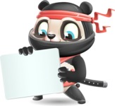 Ninja Panda Vector Cartoon Character - Holding a Blank sign