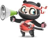 Ninja Panda Vector Cartoon Character - Holding a Loudspeaker