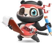 Ninja Panda Vector Cartoon Character - Holding a notepad with pencil