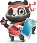 Ninja Panda Vector Cartoon Character - Holding an iPad