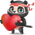 Ninja Panda Vector Cartoon Character - Holding heart