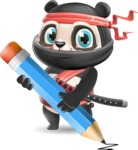 Ninja Panda Vector Cartoon Character - Holding Pencil