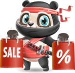 Ninja Panda Vector Cartoon Character - Holding shopping bags