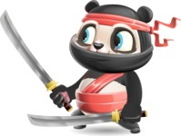 Ninja Panda Vector Cartoon Character - Holding two Katanas