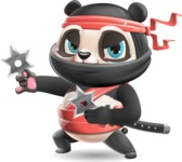 Ninja Panda Vector Cartoon Character - Holding two Ninja stars