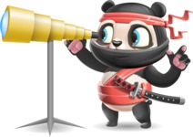 Ninja Panda Vector Cartoon Character - Looking through telescope