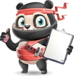 Ninja Panda Vector Cartoon Character - Making thumbs up with notepad