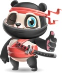 Ninja Panda Vector Cartoon Character - Making Thumbs Up
