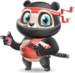 Ninja Panda Vector Cartoon Character - Pointing with both hands