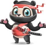 Ninja Panda Vector Cartoon Character - Presenting with both hands